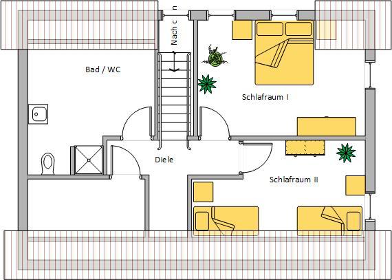Grundriss Ferienhaus Obergeschoss