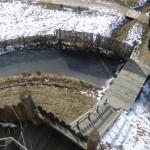 Blick von der Motte in den Burggraben