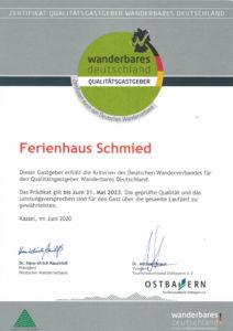 Urkunde Wanderbares Deutschland 2020